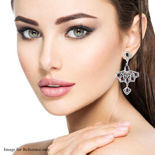 Rhodolite Garnet Fan-Inspired Earrings (with Push Back) in Platinum Overlay Sterling Silver 3.69 Ct, Silver wt. 7.35 Gms