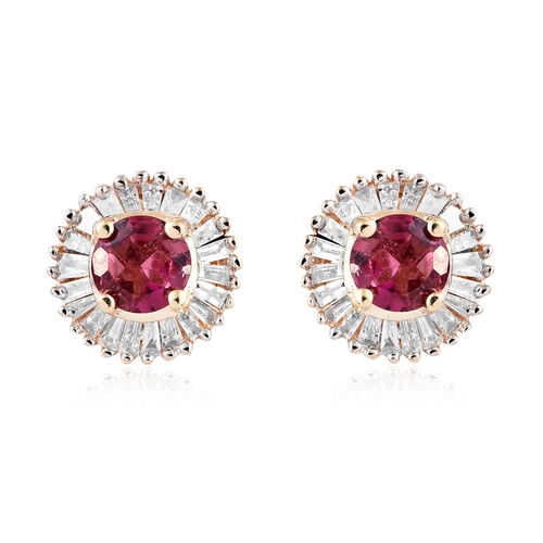 9K Yellow Gold AA Ouro Fino Rubelite (Rnd), Diamond Stud Earrings (with Push Back) 0.750 Ct.