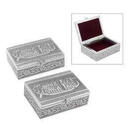Set of 2 - Handmade Egyptian Boat Embossed Storage Box (Size 18x13x6 Cm)