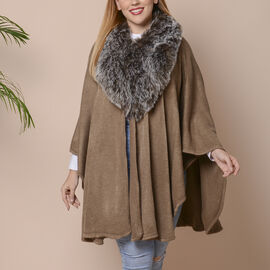 Half Moon Faux Fur Collar Cape (Size 124x76 Cm) - Khaki Colour
