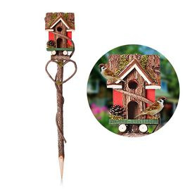 Handmade Wooden Bird House with Stand (Size 85x15x15 Cm) - Red