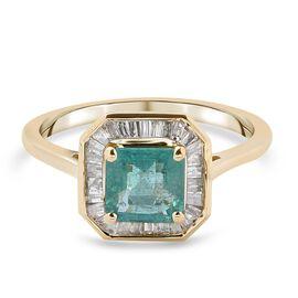 9K Yellow Gold AAA Zambian Emerald and Diamond Ring 1.50 Ct.