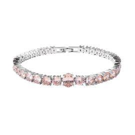 Simulated Champagne Colour Diamond Tennis Design Bracelet in Silver Tone 7 Inch
