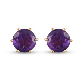 Lusaka Amethyst Earrings (with Push Back) in 14K Gold Overlay Sterling Silver 3.75 Ct.