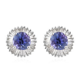 9K White Gold Tanzanite (Rnd), Diamond Halo Earrings 1.000 Ct.