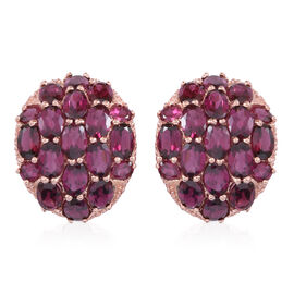Rhodolite Garnet (Ovl) Stud Earrings (with Push Back) in Rose Gold Overlay Sterling Silver 18.000 Ct.