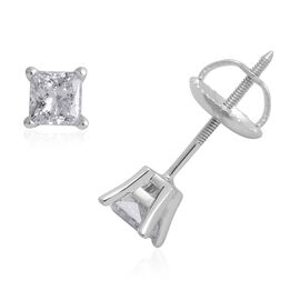 ILIANA 0.50 Carat Princess Cut Diamond Solitaire Stud Earrings in 18K White Gold EGL Certified SI GH