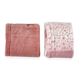 Set of 2 - Solid Colour and Leopard Pattern Winter Collar Scarf (Size 15x150 Cm) - Pink and White