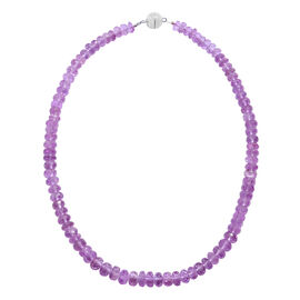 18 Inch Pink Amethyst Beaded Necklace in Rhodium Plated Sterling Silver 200 Ct