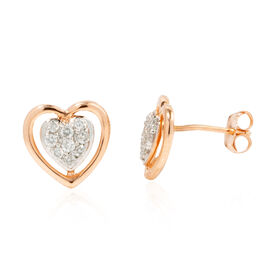 New York Close Out - 14K Rose Gold IGI Certified Diamond (Rnd) (I1/H) Heart Stud Earrings (with Push Back) 0.250 Ct.