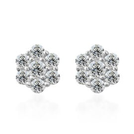 ELANZA Simulated Diamond (Rnd) Floral Stud Earrings (with Push Back) in Rhodium Overlay Sterling Silver