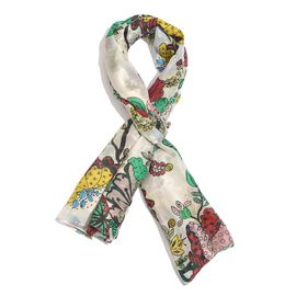 100% Mulberry Silk Red, White and Multi Colour Handscreen Floral and Leaves Printed Scarf (Size 200X