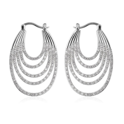 ELANZA Simulated Diamond Multilayer Hoop Earrings (with Clasp) in Rhodium Overlay Sterling Silver 3.84 Ct, Silver wt 11.02 Gms