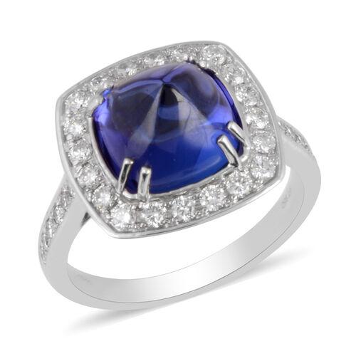 RHAPSODY 950 Platinum AAAA Tanzanite and Diamond (VS/E-F) Ring 5.30 Ct, Platinum wt 7.75 Gms