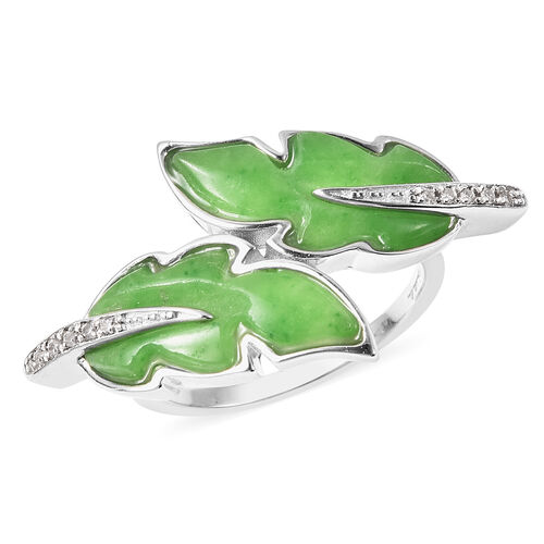Isabella Liu Leaf Collection - Carved Green Jade and Natural Cambodian Zircon Leaf Bypass Ring in Rh
