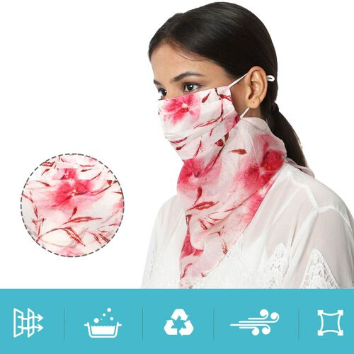 New Arrival- 2 in 1 Flower Pattern 100% Mulberry Silk Scarf and Protective Face Covering in Pink (Size 40x40 Cm)