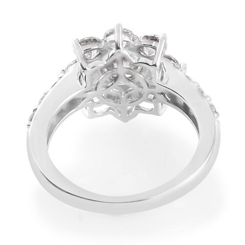 J Francis - Platinum Overlay Sterling Silver Ring Made with SWAROVSKI ZIRCONIA 4.63 Ct.