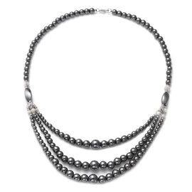Hong Kong Close Out- Hematite and White Howlite Necklace (Size 20) in Silver Tone