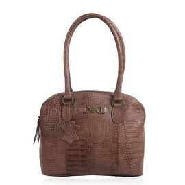 Limited Collection100% Genuine Croc Embossed Leather with Antique Brass Logo Dark Chocolate Large To