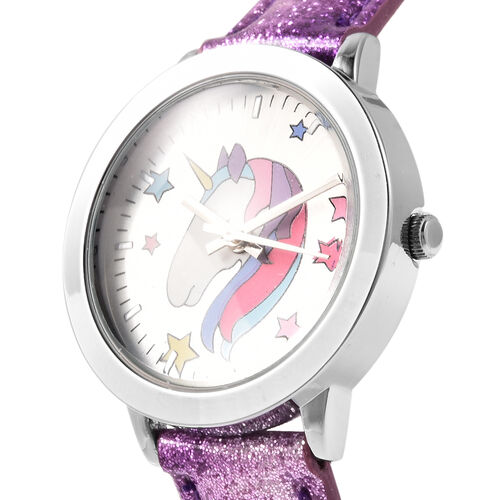 2 Piece Set - STRADA Japanese Movement Unicorn Pattern Water Resistant Watch with Purple Strap and Unicorn Key Chain in Silver Tone