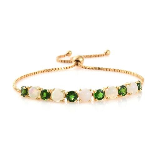 WEBEX- Ethiopian Welo Opal (Rnd), Russian Diopside Polka Dots Adjustable Bracelet (Size 6.5 to 9.5) in 14K Gold Overlay Sterling Silver 6.000 Ct, Silver wt 7.00 Gms