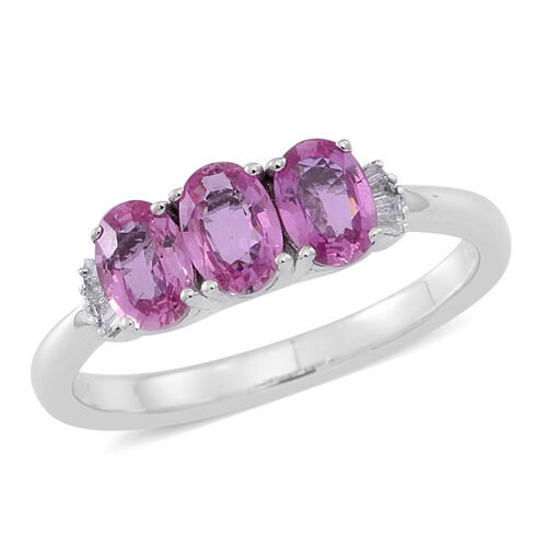 ILIANA 18K White Gold Very Rare AAA Hot Pink Sapphire (Ovl), Diamond (I2/G-H) Ring 1.750 Ct.