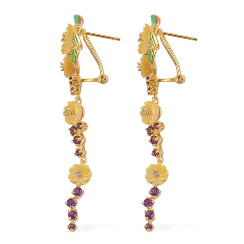 Jardin Collection - Yellow Mother of Pearl, Amethyst and Natural White Cambodian Zircon Enameled Flower Earrings (with French Clip) in Yellow Gold Overlay Sterling Silver