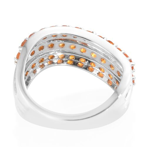 Jalisco Fire Opal (Rnd) Wave Ring in Platinum Overlay Sterling Silver 1.000 Ct.