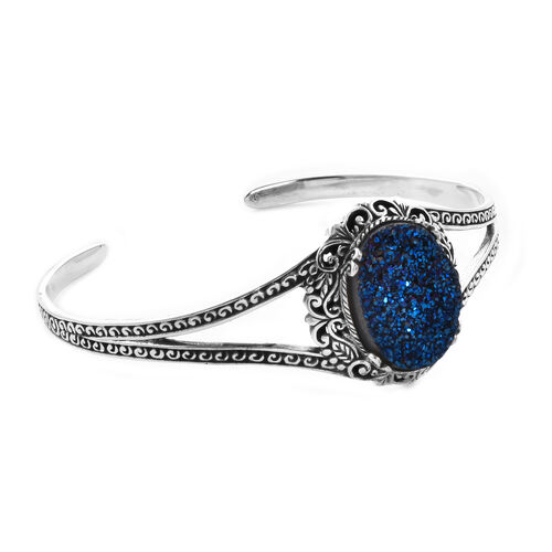 Royal Bali Collection - Drusy Cobalt Blue (Ovl 20x15mm) Cuff Bangle (Size 7.5) in Sterling Silver 13.00 Ct, Silver wt 15.66 Gms