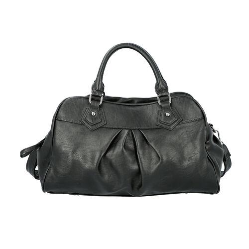 Super Soft Tote Handbag with Detachable Shoulder Strap and Zipper Closure (Size 39.5x13x23cm) - Blac
