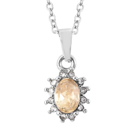 3 Piece Set - Citrine and White Austrian Crystal Ring, Earrings (with Push Back) & Pendant with Chain (Size 20) in Stainless Steel 4.50 Ct.