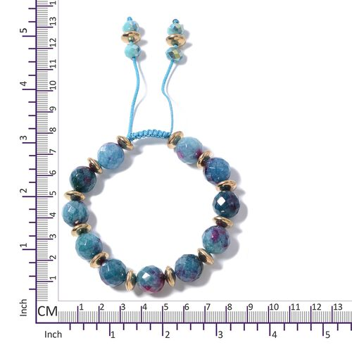 Blue Quartzite, Simulated Sapphire and Multi Colour Beads Adjustable Bracelet (Size 6.50 to 9.50) 153.000 Ct