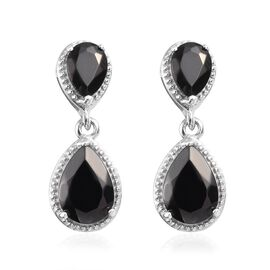 3 Carat Elite Shungite Drop Earring in Platinum Plated Sterling Silver