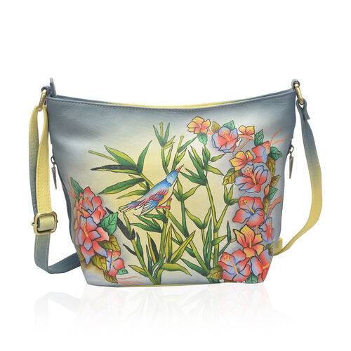 SUKRITI - 100% Genuine Leather Multi Colour Bird and Floral Handpainted Hobo Bag with External Zippe