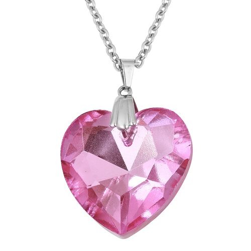 Close Out- Simulated Pink Sapphire (Hrt 27mm) Pendant With Chain in Stainless Steel