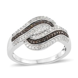 Red Diamond (Rnd), White Diamond Ring in Black Rhodium and Platinum Overlay Sterling Silver 0.500 Ct.
