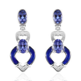 Tanzanite Dangle Earrings in Platinum Overlay Sterling Silver 1.75 Ct.