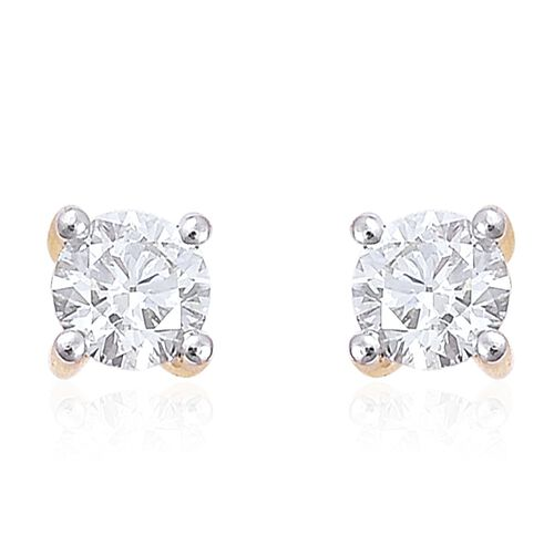 ILIANA 0.50 Carat Diamond Round Solitaire Stud Earrings in 18K Gold IGI Certified SI G-H with Screw Back