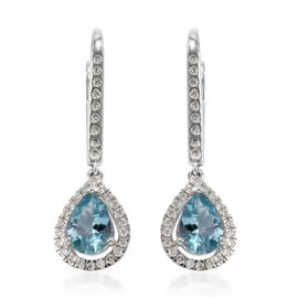 ILIANA 18K White Gold Santa Maria Aquamarine and Diamond Earrings  1.50 Ct.
