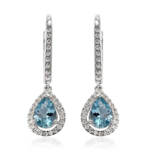 ILIANA 18K White Gold Santa Maria Aquamarine and Diamond Earrings  1.50 Ct.