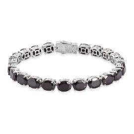 Elite Shungite Tennis Bracelet (Size 8) in Platinum Overlay Sterling Silver 23.30 Ct, Silver wt. 17.