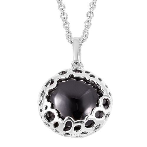Super Auction-RACHEL GALLEY Boi Ploi Black Spinel ((Rnd 15mm) Lattice Pendant with Chain (Size 20) in Rhodium Overlay Sterling Silver 17.440 Ct, Silver wt: 7.10 Gms.