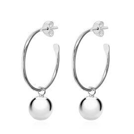 Sterling Silver Ball Drop Hoop Earrings (with Push Bcak)
