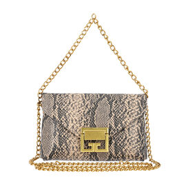 Light Brown Snake Skin Pattern Two Way Waist Bag with Chain Strap (Size 17.5x11 Cm)