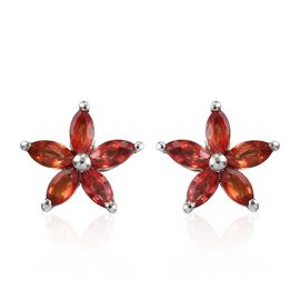 Orange Sapphire Floral Stud Earrings (with Push Back) in Platinum Overlay Sterling Silver 1.00 Ct.