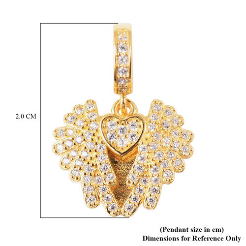Charmes De Memoire - Simulated Diamond Heart with Angel Wings Charm in Yellow Gold Overlay Sterling Silver