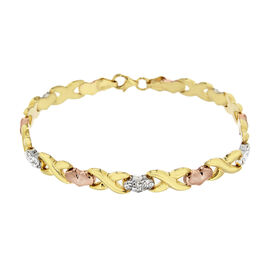 Simulated Diamond Three-Tone Heart and Kiss (X/HRT) Bracelet (Size 7.5) in Rose, Yellow and White Go