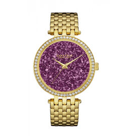 CARAVELLE Gold Tone Womens Watch with Pink Crystal Studded Dial - 40mm - up to 9in