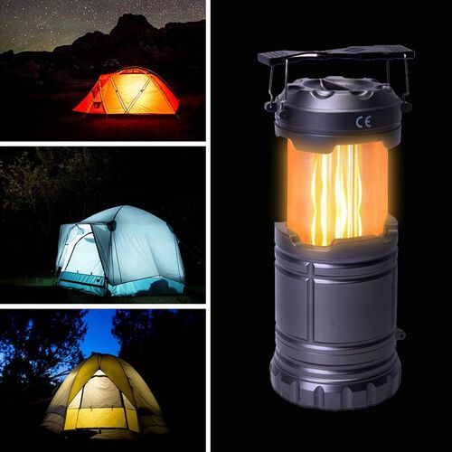3 in 1 Flame Lantern with white LED Light, Flame Light and Flashlight (3xAA Battery Not Included) (Size 9x14.5 Cm) - Grey