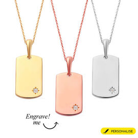 Personalise Engraved Diamond Dog Tag Pendant with Chain in Silver
